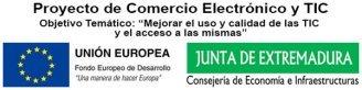 Logo subvención FEDER - Junta de Extremadura - Proyecto de Comercio Electrónico y TIC